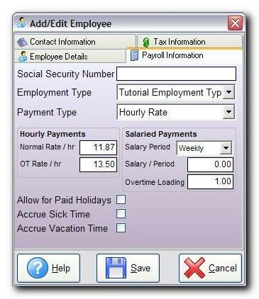 Payroll Information Screenshot